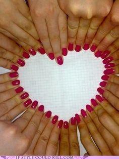 hand, heart nails, pink nails, bridesmaid, nail arts, red nails, the bride, wedding rings, bridal parties