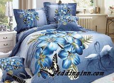 #butterfly #flower #bedding  Beautiful Butterfly and Blue Flower Print 4-Piece 3D Duvet Cover Sets  Buy link-->http://goo.gl/PdJ92N Live a better life,start with @beddinginn