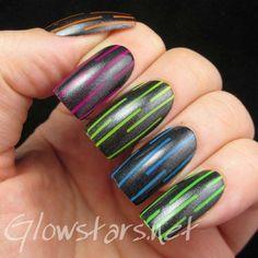 Black Matte Polish with colorful stripes  #nailart #prettymani #polish - See more nail looks at bellashoot.com & share your faves!