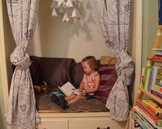 Turning a built-in closet into a children's reading nook (via HipChickDigs)