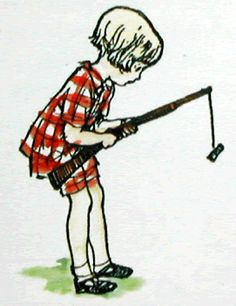 Christopher Robin playing with a toy gun
