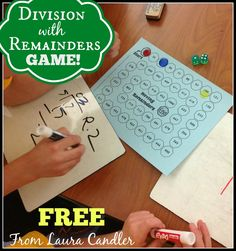 Math activities including Division with Remainders game freebie from Laura Candler