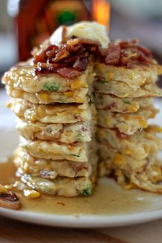 bacon and corn griddle cakes. best recipe I have ever made from Pinterest.