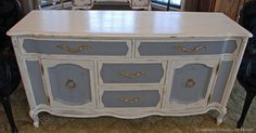Susan of Uniquely Yours or Mine refinished this buffet with a custom mix of Graphite & Pure White Chalk Paint® decorative paint by Annie Sloan.
