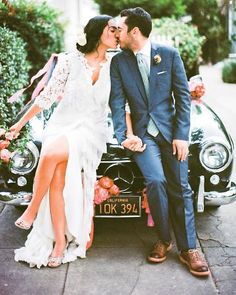 This vintage Mercedes-Benz whisked away the bride and groom. happy couples, a kiss, getaway car, vintage cars, weddings, the dress, wedding photos, old cars, bride groom