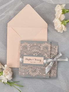 Grey and Peach Lace  Wedding Invitation
