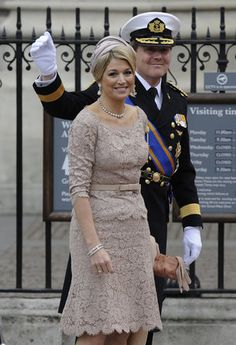Mother of the bride. (Maxima wore lovely taupe lace dress to royal wedding)