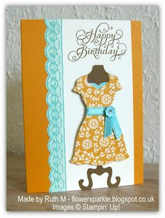 Flower Sparkle: Viola's Lace strip & dress Happy Birthday card