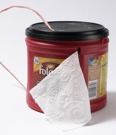Repurpose a coffee can to hold and protect TOILET PAPER!  Perfect for camping!!! camping tips, 41 camp, camp idea, camping bathroom
