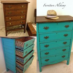 Indian Inspired Antique Dresser Makeover...I would never paint a dresser this beautiful, but I love the drawer stencilling.