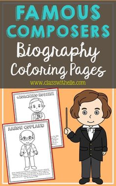 Bundle of 10 Famous Composers Biography Coloring Pages with Informational Text. Figures included: Gioachino Rossini, Franz Schubert, Richard Wagner, George Frederic Handel, Leroy Anderson, Wolfgang Mozart, Johann Sebastian Bach, Beethoven, Aaron Copland, George Gershwin