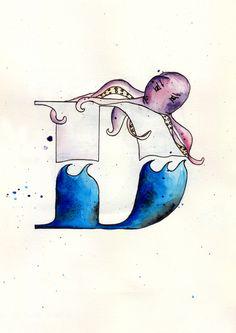 letra, letter, octopus, design