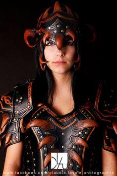 female leather armor closeup
