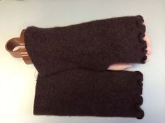 B79 chocolate brown Cashmere fingerless gloves women wrist warmer upcycled Cashmere Fingerless Mittens Wrist Warmers Special ruffle edging on Etsy, $23.00