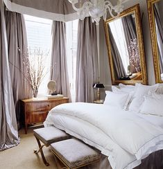 6 Creative Alternative to Your Standard Headboard// silk drapes, white bedding, traditional bedroom