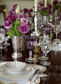 Elegant, timeless table with purple stemware and ranunculus - Ashley Whittaker