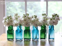Cheap craft: painted glass salt + pepper shaker vases