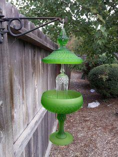 clear glass, glass hang, garden decor crafts, garden glass totems, glass garden totems