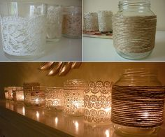 DIY home decor candles  http://www.ydeblanco.cl/wp-content/uploads/2011/10/Decoracion-DIY2.jpg Lamps, Diy Home Decor, Lace, Idea, Candle Holders, Candles, Homes, Blog, Mason Jars