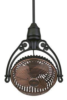 Antique copper hanging ceiling fan