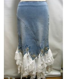 denim skirt w/while ruffles