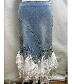 lace, craft, sewing denim, cloth, denim recycle, recycled jean skirts, denim skirts, white ruffl, ruffles