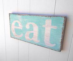 Eat wood sign kitchen decor turquoise white cottage  chic