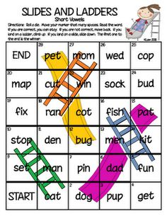 Slides and Ladders Game...Make blank laminated copy and fill in with words for particular spelling pattern or phonics skill.