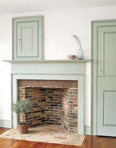 green doors, cupboard, faux fireplace, brick, door colors, fireplace mantels, paint colors, hearth, mantl