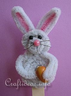 Chenille Easter Bunny on a Stick - bjl