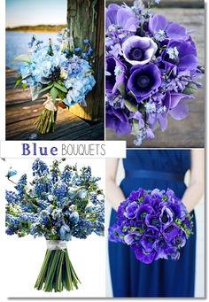 blå bukett, blå brudbukett, blommor bröllop blått, blue bouquets, blue wedding bouquet, blue bridal bouquet, helt blå bukett