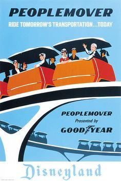 vintage posters, peopl mover, vintage disneyland, disneyland poster, vintag disneyland