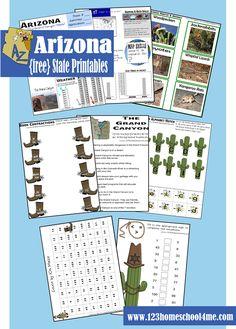 free #arizona worksheets for #homeschool Social Studies, #preschool, or family #roadtrip. Fun activities for Preschool, #kindergarten, and #elementary age students