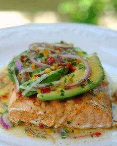 Grilled Salmon with Avocado Salsa from Lay Lita