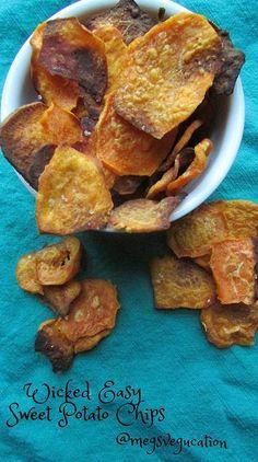 Wicked Easy Baked Sweet Potato Chips  #VeggieStaples