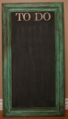 old cupboard door into great chalkboard