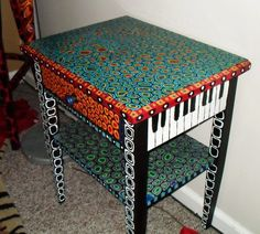 Painted piano end table with drawer. ($ 500)