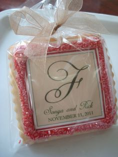 Edible Wedding Favor Shortbread Personalized by StoneHouseOven, $36.00