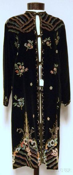 Vintage Hand-painted Black Velvet Opera Coat, silk-lined, the painting done to resemble embroidery, with toggle closures, lg. 42 in.
