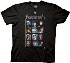 Doctor Who t-shirt with the Tardis and Eleven Doctors.
