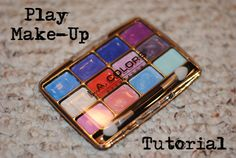Play Make-up Tutorial. Simple to make, realistic looking, and absolutely mess free! (buy eye shadow at dollar store and clean out completely, then paint with acrylic paint!)