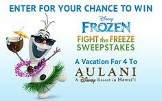 Let's go bring back summer! Fight the freeze and enter for your chance to win a vacation for 4 to Disney Aulani in Hawaii: http://di.sn/dUX
