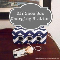 so cool! Shoe Box Phone and iPad Charging Station #DIY #upcycling #iPad #iPhone