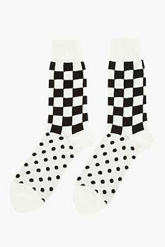 COMME DES GARÇONS HOMME PLUS White Jersey Checker & Dot Patterned Socks
