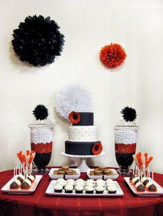 dessert tables, cake, white parti, idea, sweet tables, candi, bridal shower, black white red, red black