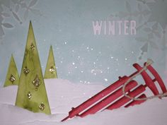 Creative Card Challenge in the 'Simply Created Master Class' at Inspire, Create, Share 2014 using the Watercolor Winter Simply Created Card Kit. #stampinup #stampinupchristmascard #simplycreatedkit #watercolorwinter