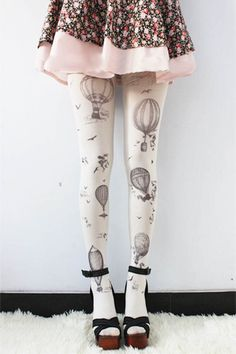 Hot Air Balloon Leggings - Womens Legging - SAGE - Tights - LARGE Pantyhose Tattoo Socks Leggings Tights Stockings Kawaii