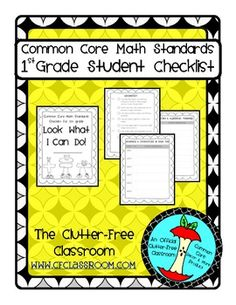 First Grade I CAN STUDENT CHECKLIST for Common Core Math Standards for Data Notebooks