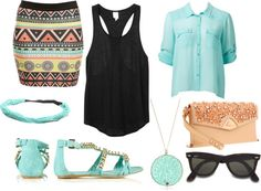 by addeo on Polyvore #mint #studded #aztec #print #rayban #clothes #fashion