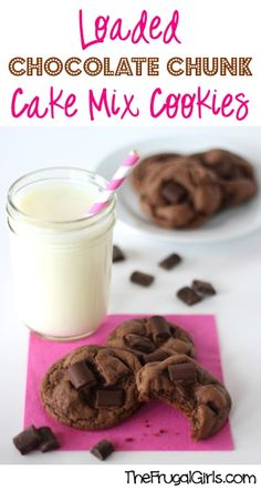 Loaded Chocolate Chunk Cake Mix Cookies Recipe from TheFrugalGirls.com